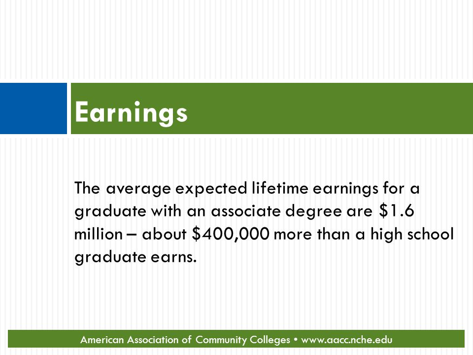 Earnings The average expected lifetime earnings for a graduate with an associate degree are $1.6 million – about $400,000 more than a high school graduate earns.