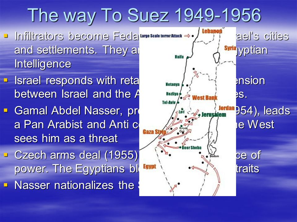 The way To Suez 1949-1956  Infiltrators become Fedayeen and attack Israel's cities and settlements.