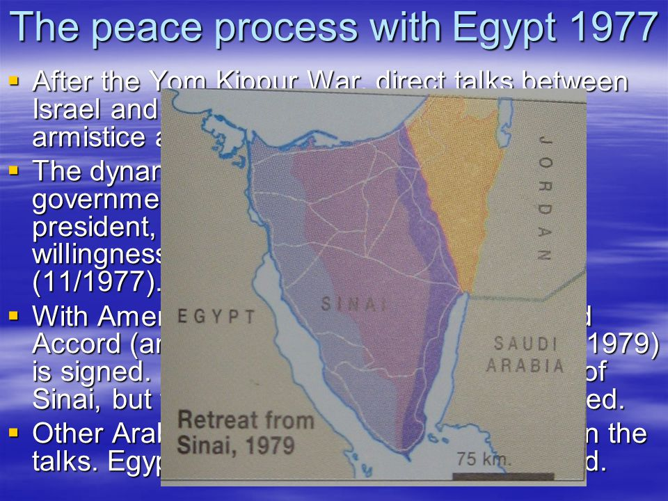 The peace process with Egypt 1977  After the Yom Kippur War, direct talks between Israel and Egypt (first time since 48) bring armistice and later a separation of forces.
