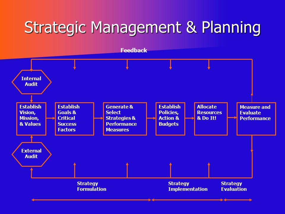 Strategic Management & Planning Internal Audit Establish Vision, Mission, & Values Establish Goals & Critical Success Factors Generate & Select Strate