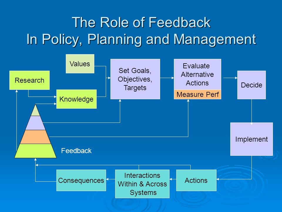 Values The Role of Feedback In Policy, Planning and Management Knowledge Evaluate Alternative Actions Decide Implement Consequences Set Goals, Objectives, Targets Interactions Within & Across Systems Actions Research Measure Perf Feedback