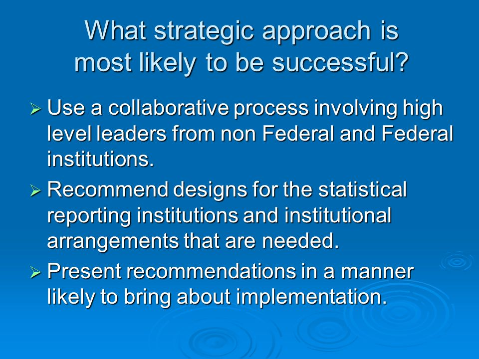 What strategic approach is most likely to be successful.