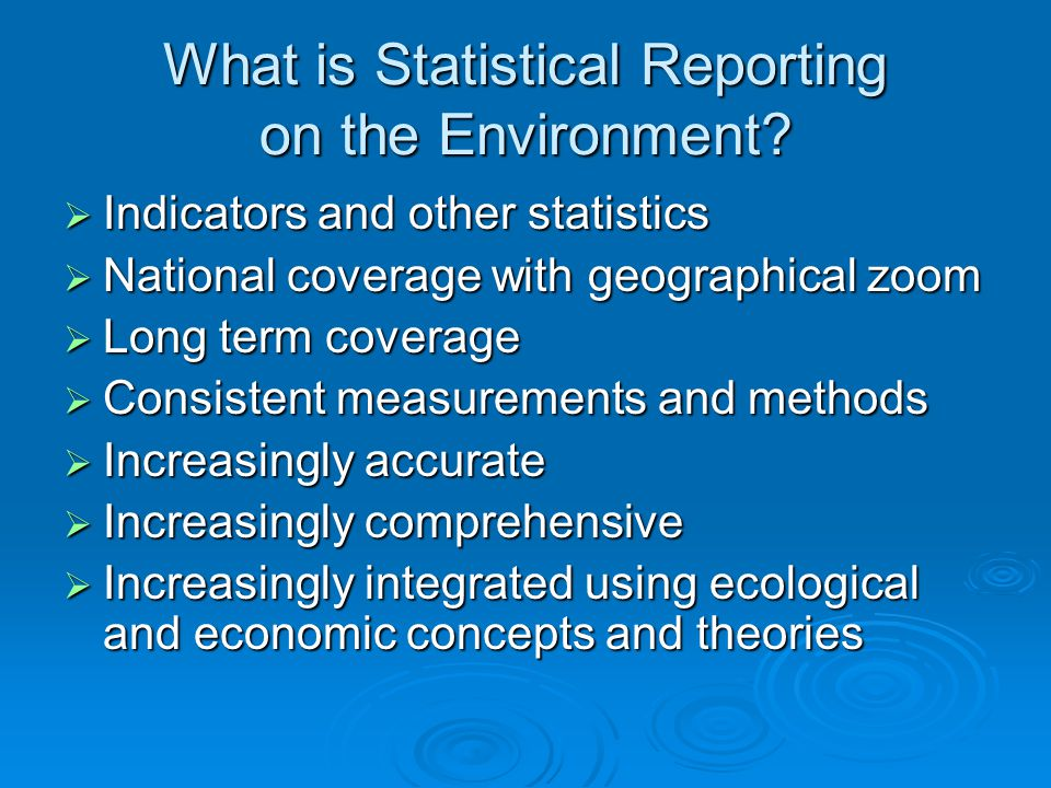 What is Statistical Reporting on the Environment.