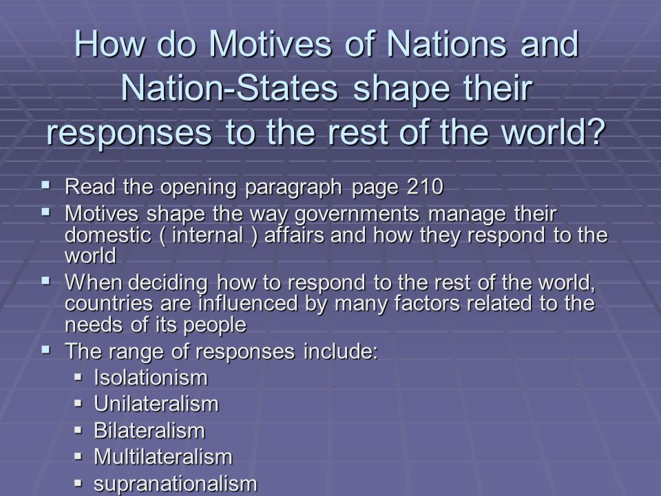 How do Motives of Nations and Nation-States shape their responses to the rest of the world?  Read the opening paragraph page 210  Motives shape the