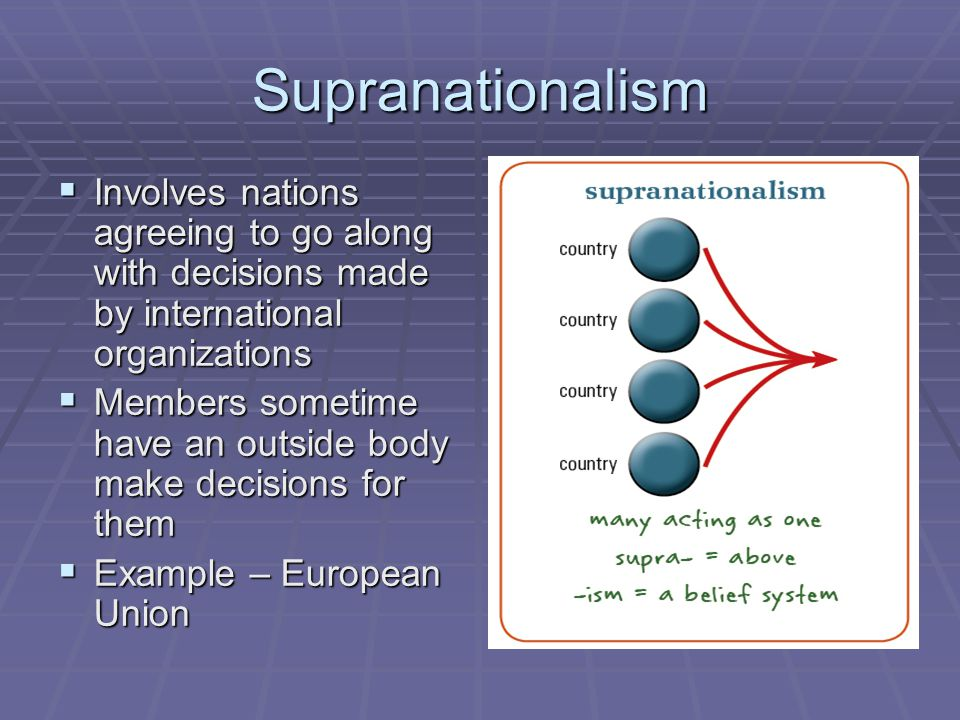 Supranationalism  Involves nations agreeing to go along with decisions made by international organizations  Members sometime have an outside body ma