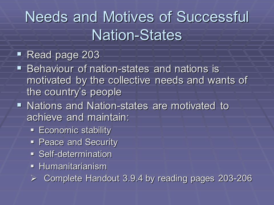 Needs and Motives of Successful Nation-States  Read page 203  Behaviour of nation-states and nations is motivated by the collective needs and wants