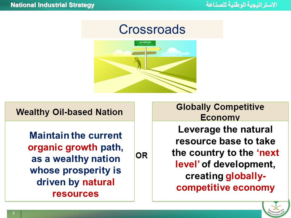 الاستراتيجية الوطنية للصناعة National Industrial Strategy 3 Crossroads Globally Competitive Economy Path A Leverage the natural resource base to take the country to the 'next level' of development, creating globally- competitive economy Wealthy Oil-based Nation Path A Maintain the current organic growth path, as a wealthy nation whose prosperity is driven by natural resources OR