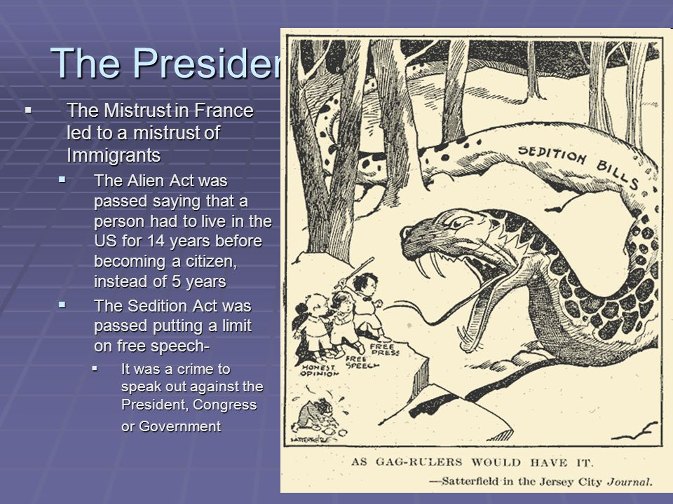 The Presidency of John Adams  The Mistrust in France led to a mistrust of Immigrants  The Alien Act was passed saying that a person had to live in t