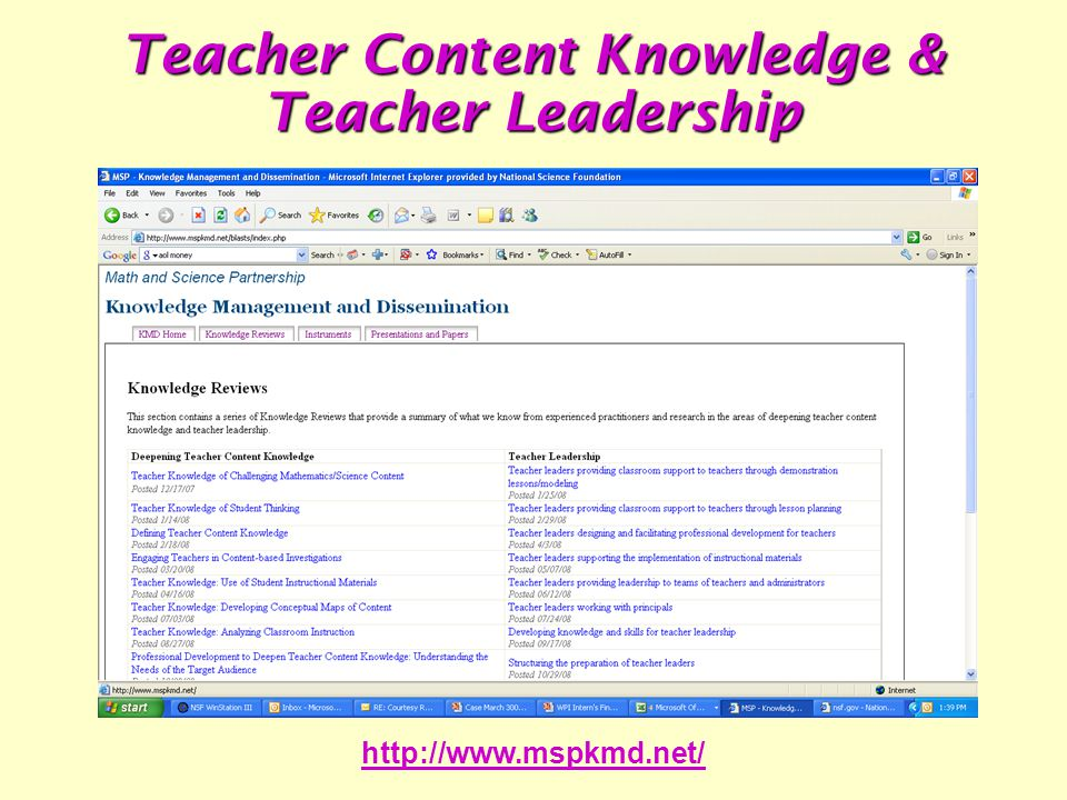 http://www.mspkmd.net/ Teacher Content Knowledge & Teacher Leadership