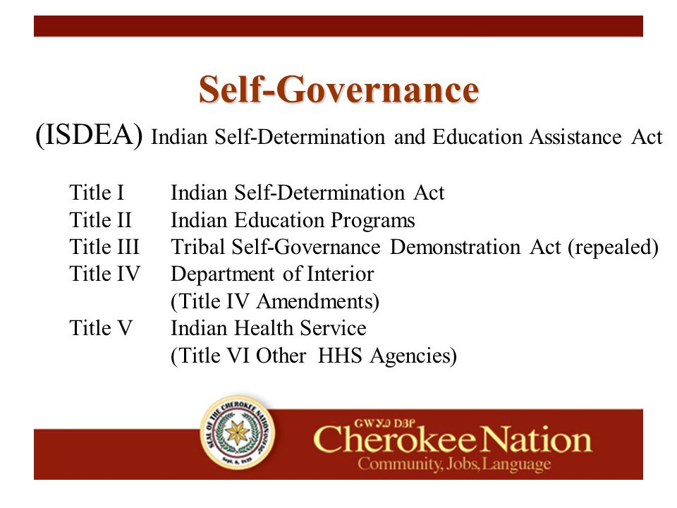 (ISDEA) Indian Self-Determination and Education Assistance Act Title IIndian Self-Determination Act Title IIIndian Education Programs Title IIITribal