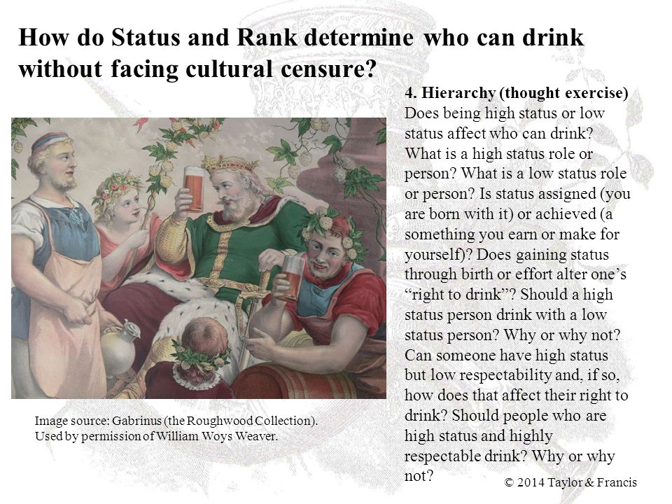 How do Status and Rank determine who can drink without facing cultural censure? 4. Hierarchy (thought exercise) Does being high status or low status a