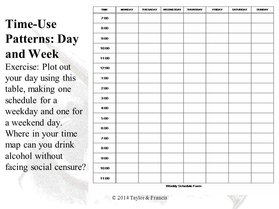 Time-Use Patterns: Month Exercise: Plot out your typical month using this table.