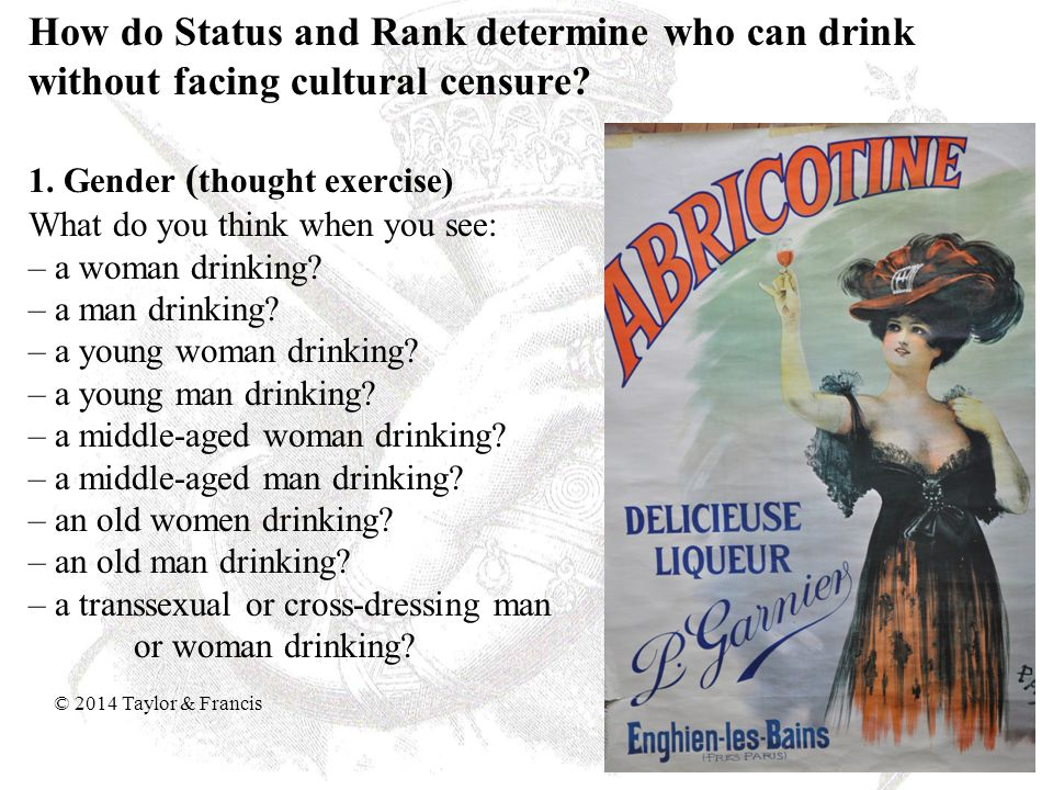 How do Status and Rank determine who can drink without facing cultural censure.