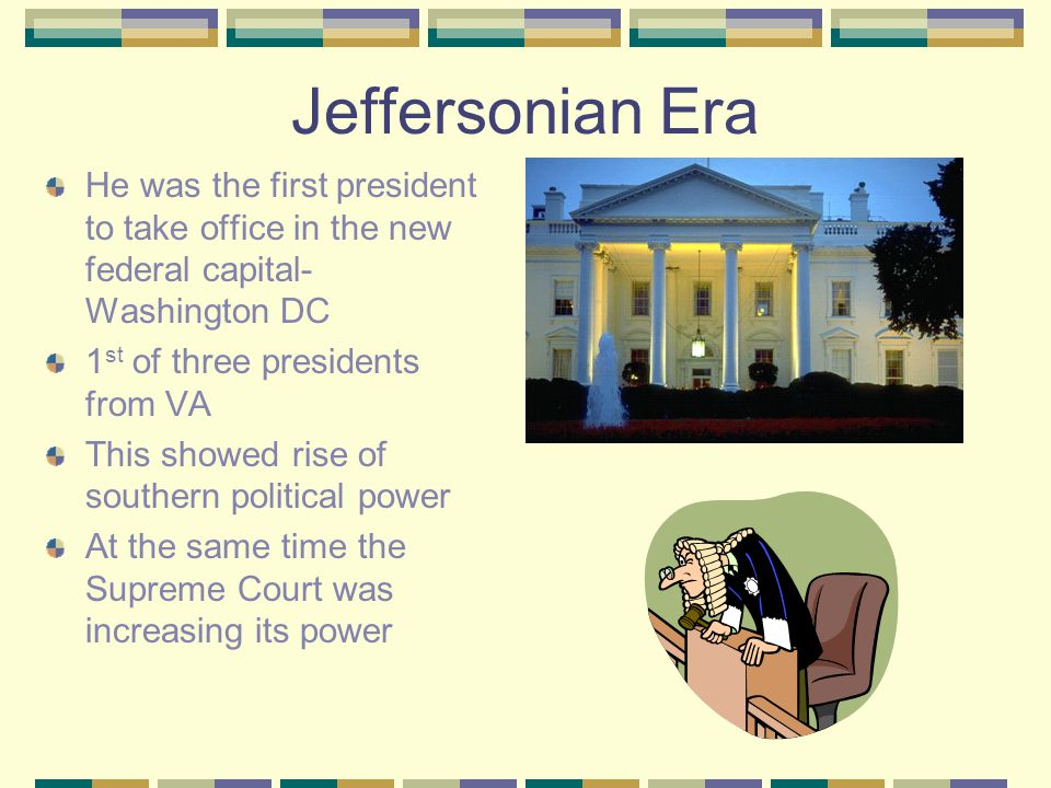 The Jeffersonian Era Jefferson won a close and bitter Election in 1800 Won the most popular vote Tied in electoral college with Aaron Burr Hamilton broke the tie 12 th Amendment changed the way the president would be chosen Jefferson ' s Theory-Jeffersonian republicanism People should control the government Government should be simple and small He reduced the size of the military and lowered governmental expenses