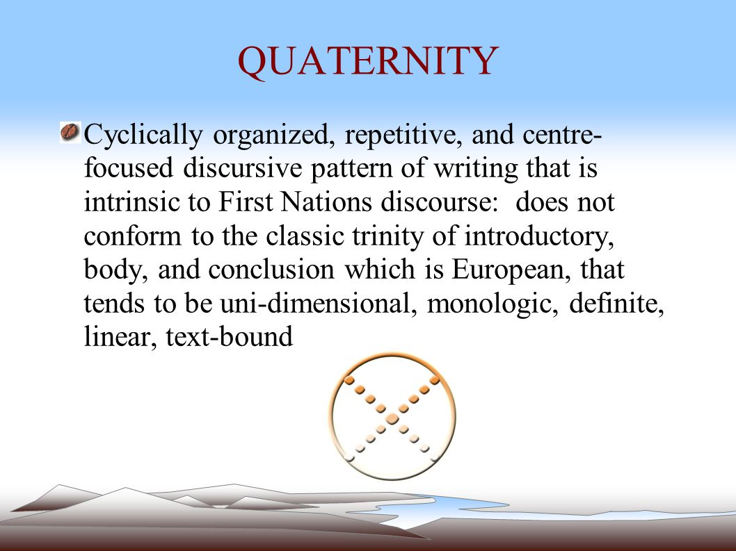 QUATERNITY Cyclically organized, repetitive, and centre- focused discursive pattern of writing that is intrinsic to First Nations discourse: does not conform to the classic trinity of introductory, body, and conclusion which is European, that tends to be uni-dimensional, monologic, definite, linear, text-bound