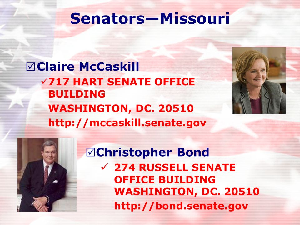 Representatives—Missouri  Jo Ann Emerson District 9 – Representative  Russ Carnahan District 3 – Representative