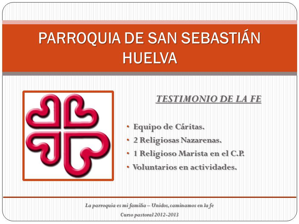 PARROQUIA DE SAN SEBASTIÁN HUELVA TESTIMONIO DE LA FE Equipo de Cáritas.