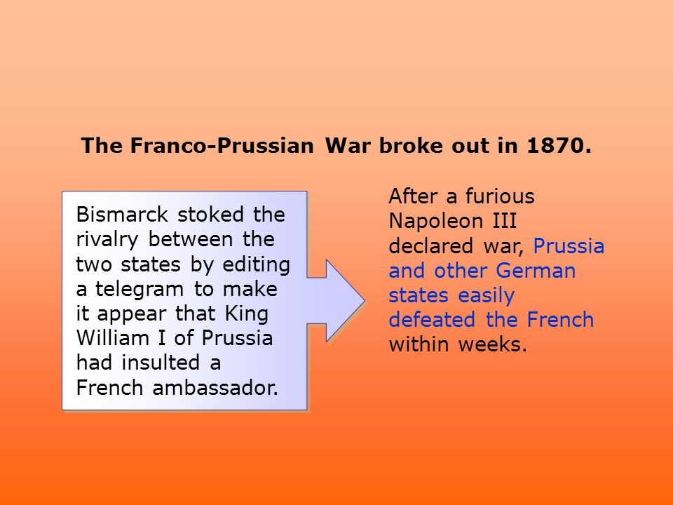 The Franco-Prussian War broke out in 1870. Bismarck stoked the rivalry between the two states by editing a telegram to make it appear that King Willia