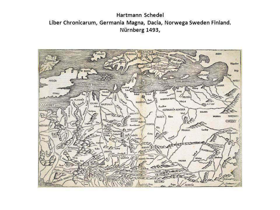 Hartmann Schedel Liber Chronicarum, Germania Magna, Dacia, Norwega Sweden Finland. Nürnberg 1493,