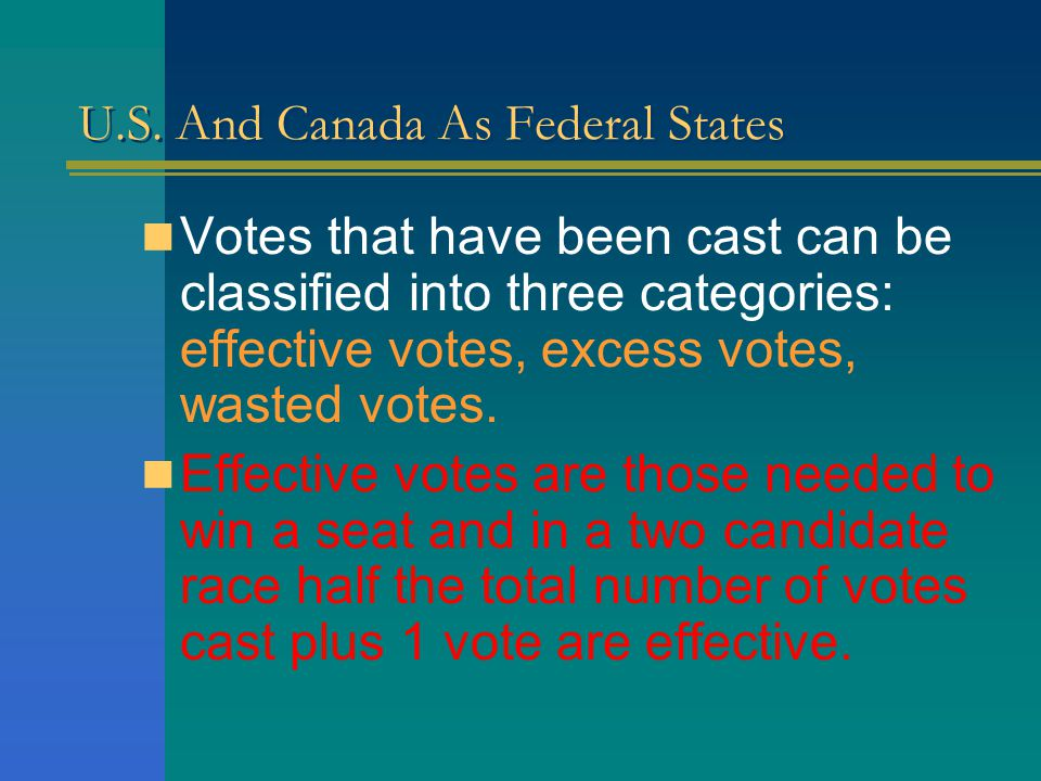 U.S. And Canada As Federal States To understand the politics of gerrymandering it will be noteworthy to classify elections when voting is done.