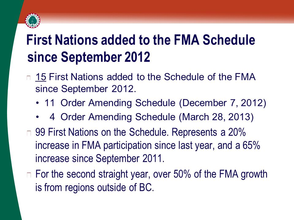 First Nations added to the FMA Schedule since September 2012 ▶ 15 First Nations added to the Schedule of the FMA since September 2012.