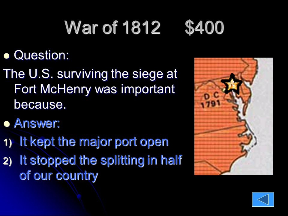 War of 1812 $400 Question: Question: The U.S.