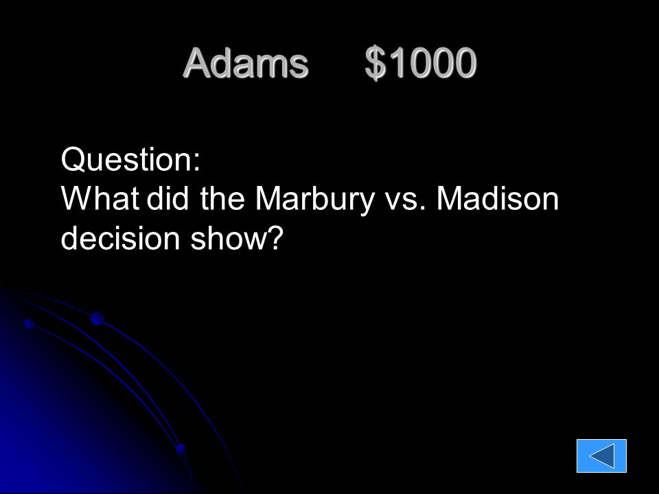 Adams $1000 Question: What did the Marbury vs. Madison decision show