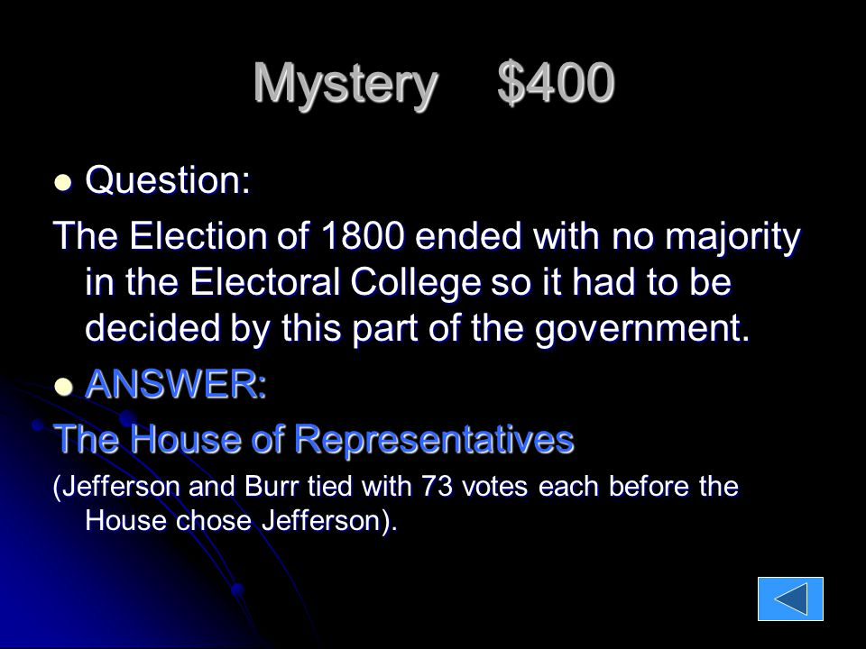 Mystery $400 Question: Question: The Election of 1800 ended with no majority in the Electoral College so it had to be decided by this part of the government.