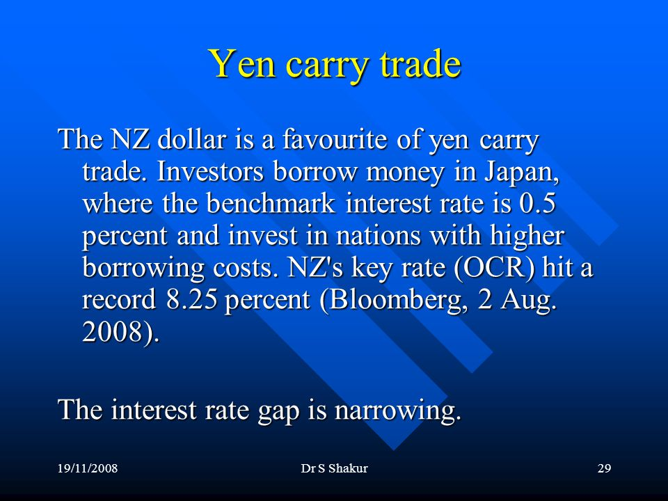 19/11/2008Dr S Shakur29 Yen carry trade The NZ dollar is a favourite of yen carry trade.