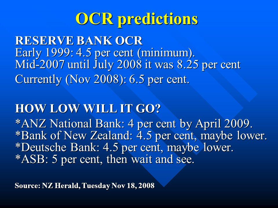 OCR predictions RESERVE BANK OCR Early 1999: 4.5 per cent (minimum). Mid-2007 until July 2008 it was 8.25 per cent Currently (Nov 2008): 6.5 per cent.
