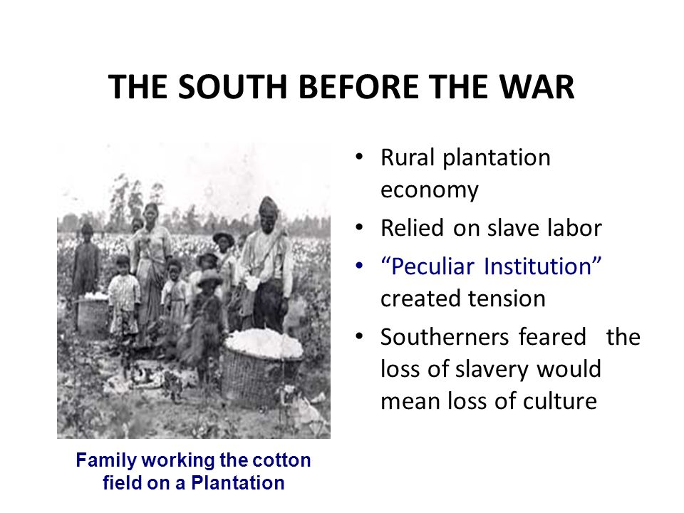 """THE SOUTH BEFORE THE WAR Rural plantation economy Relied on slave labor """"Peculiar Institution"""" created tension Southerners feared the loss of slavery"""