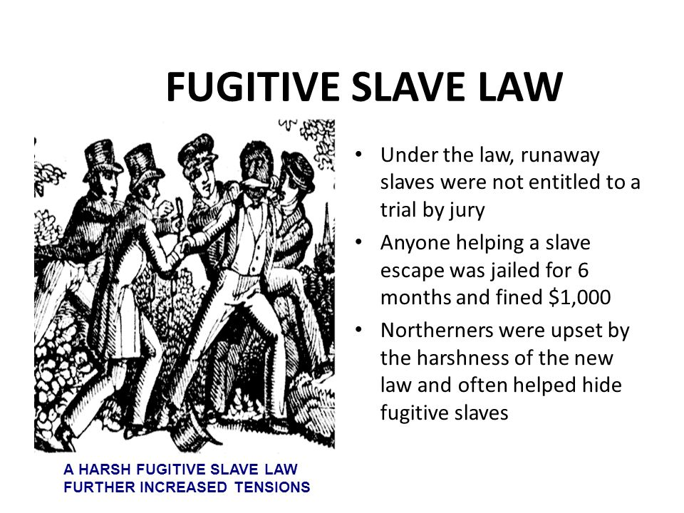 FUGITIVE SLAVE LAW Under the law, runaway slaves were not entitled to a trial by jury Anyone helping a slave escape was jailed for 6 months and fined