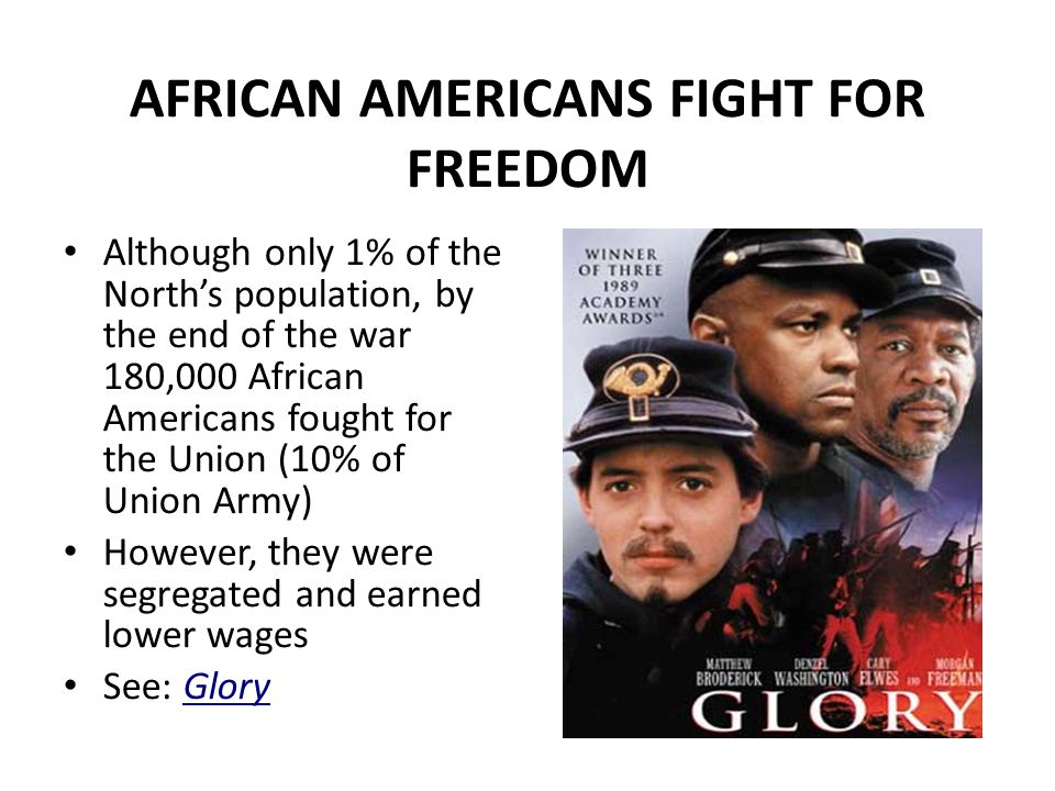 AFRICAN AMERICANS FIGHT FOR FREEDOM Although only 1% of the North's population, by the end of the war 180,000 African Americans fought for the Union (