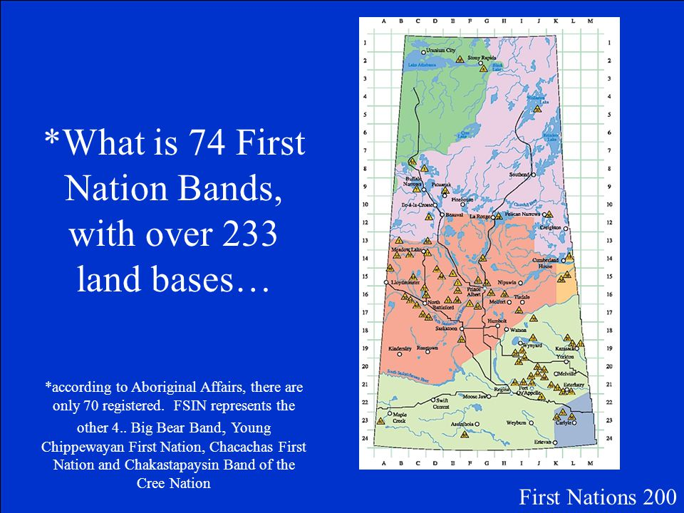 The Total number of First Nations Bands in Saskatchewan First Nations 200