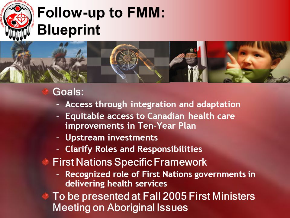 Follow-up to FMM: Blueprint Goals: –Access through integration and adaptation –Equitable access to Canadian health care improvements in Ten-Year Plan