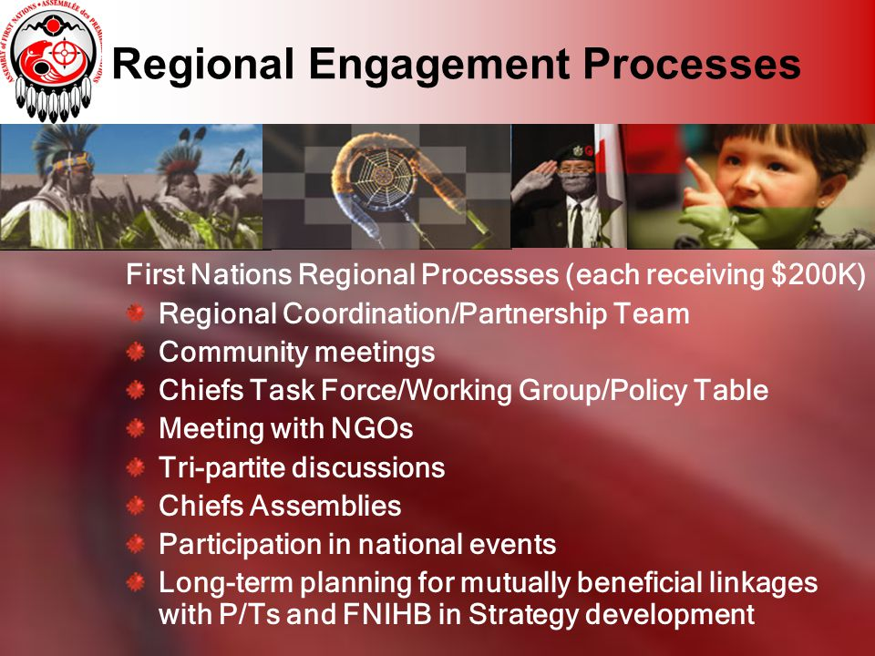 Regional Engagement Processes First Nations Regional Processes (each receiving $200K) Regional Coordination/Partnership Team Community meetings Chiefs