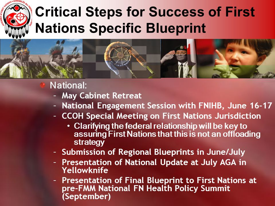 Critical Steps for Success of First Nations Specific Blueprint National: –May Cabinet Retreat –National Engagement Session with FNIHB, June 16-17 –CCO