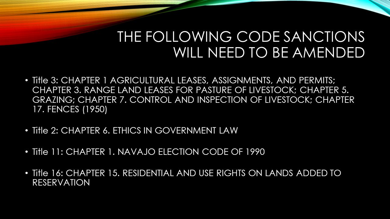 THE FOLLOWING CODE SANCTIONS WILL NEED TO BE AMENDED Title 3: CHAPTER 1 AGRICULTURAL LEASES, ASSIGNMENTS, AND PERMITS; CHAPTER 3. RANGE LAND LEASES FO