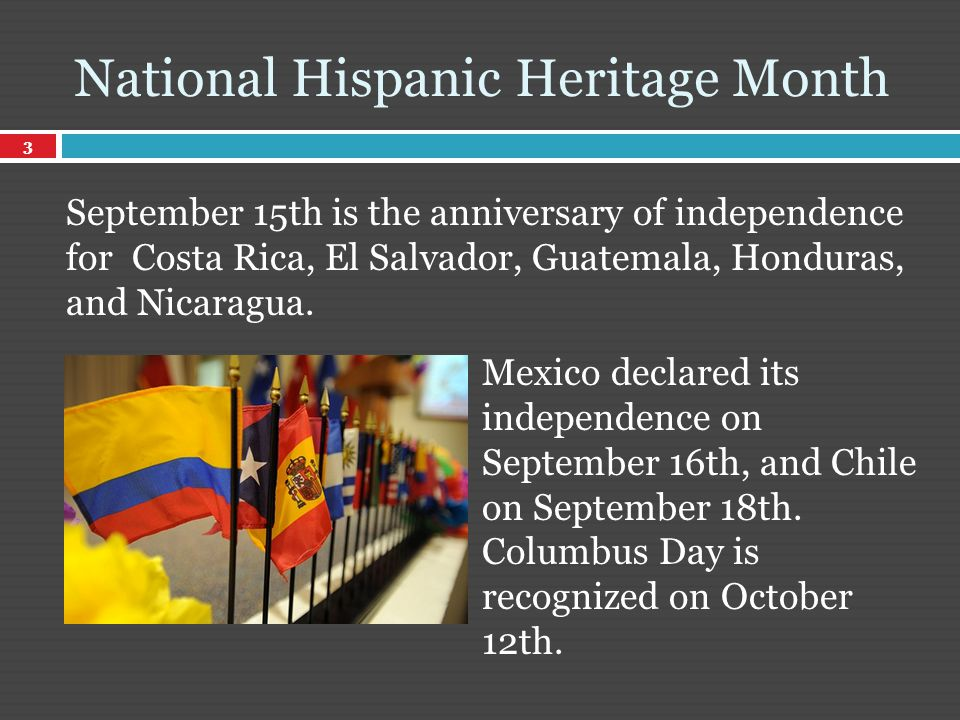 September 15th is the anniversary of independence for Costa Rica, El Salvador, Guatemala, Honduras, and Nicaragua.