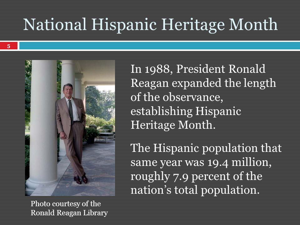 In 1988, President Ronald Reagan expanded the length of the observance, establishing Hispanic Heritage Month.