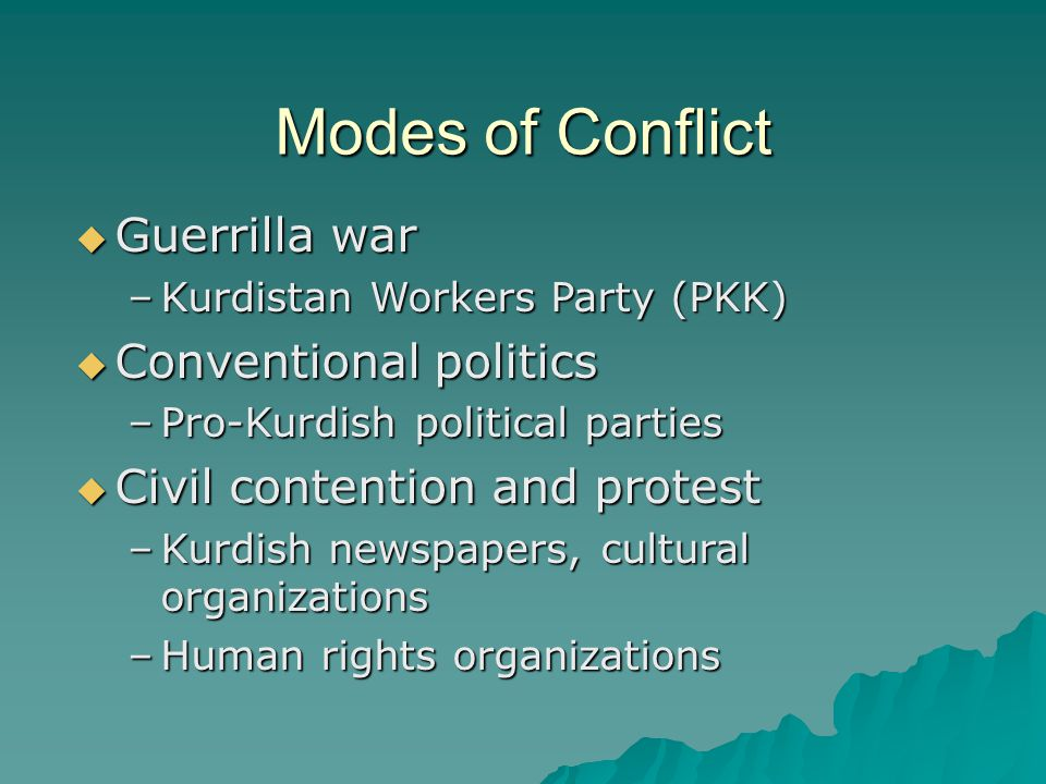 Modes of Conflict  Guerrilla war –Kurdistan Workers Party (PKK)  Conventional politics –Pro-Kurdish political parties  Civil contention and protest –Kurdish newspapers, cultural organizations –Human rights organizations