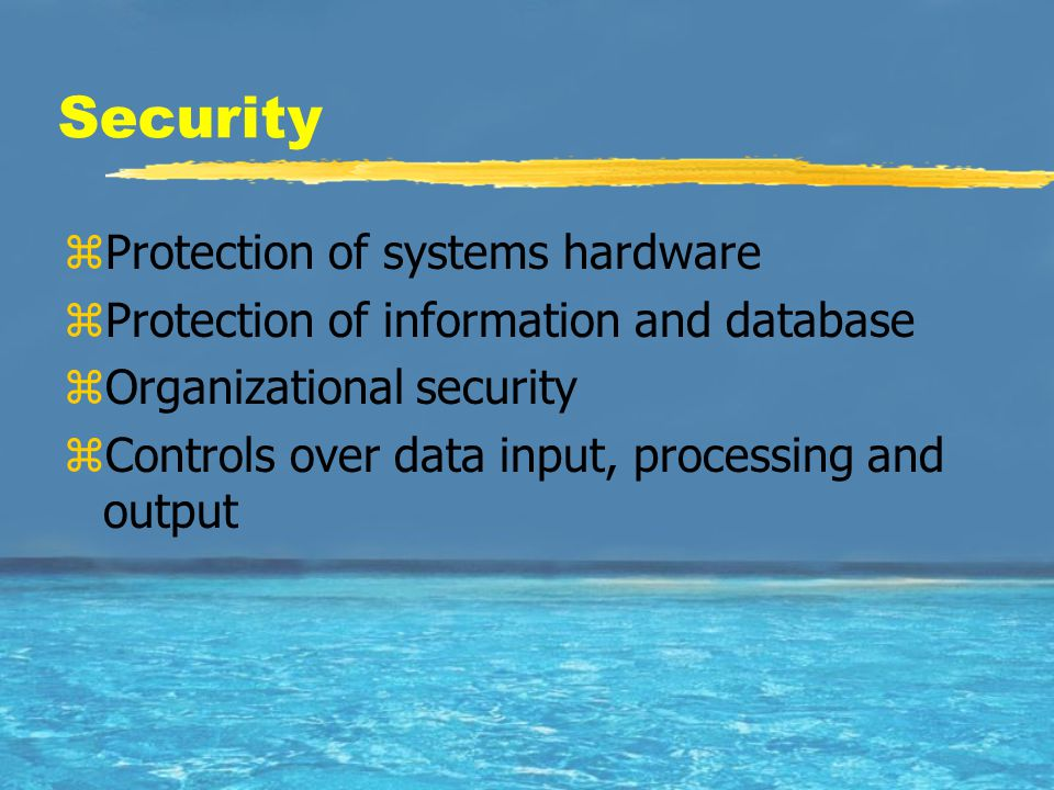 Security zProtection of systems hardware zProtection of information and database zOrganizational security zControls over data input, processing and ou