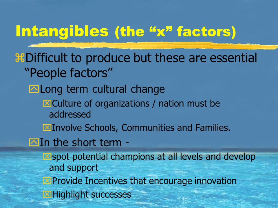 "Intangibles (the ""x"" factors) zDifficult to produce but these are essential ""People factors"" yLong term cultural change xCulture of organizations / na"