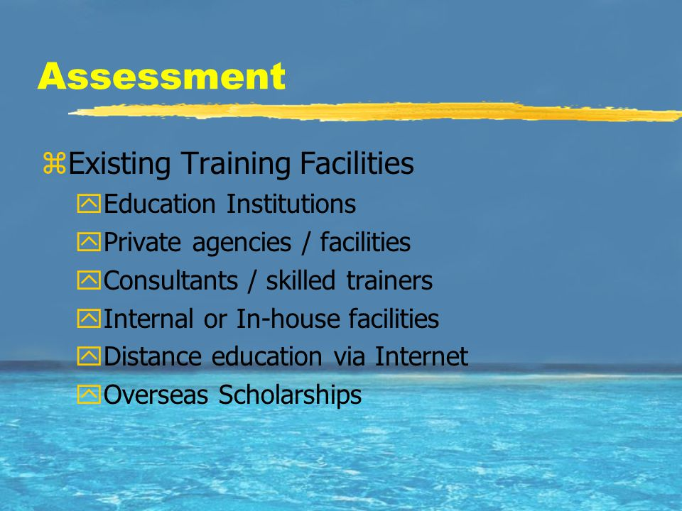 Assessment zExisting Training Facilities yEducation Institutions yPrivate agencies / facilities yConsultants / skilled trainers yInternal or In-house facilities yDistance education via Internet yOverseas Scholarships