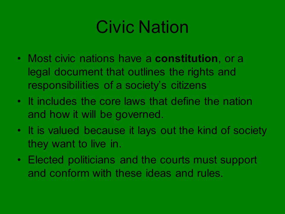 Civic Nationalism One understanding implies that Civic Nationalism emerges only after a nation state has been created.
