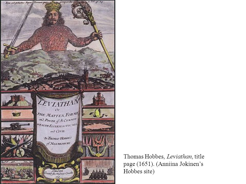 Thomas Hobbes, Leviathan, title page (1651). (Anniina Jokinen's Hobbes site)