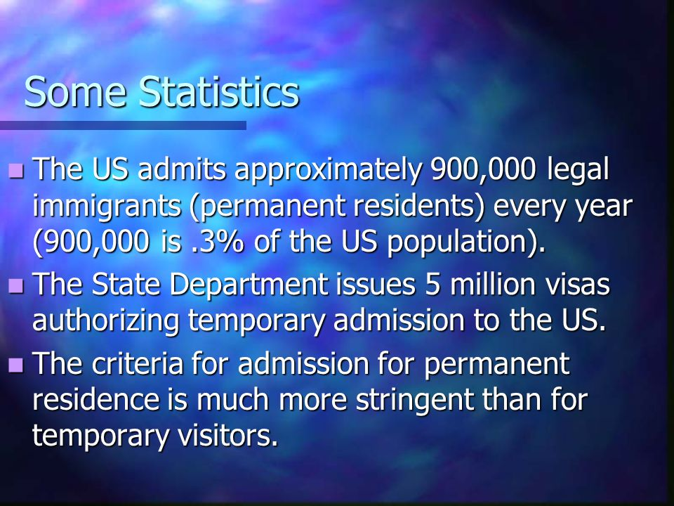 Some Statistics The US admits approximately 900,000 legal immigrants (permanent residents) every year (900,000 is.3% of the US population). The US adm