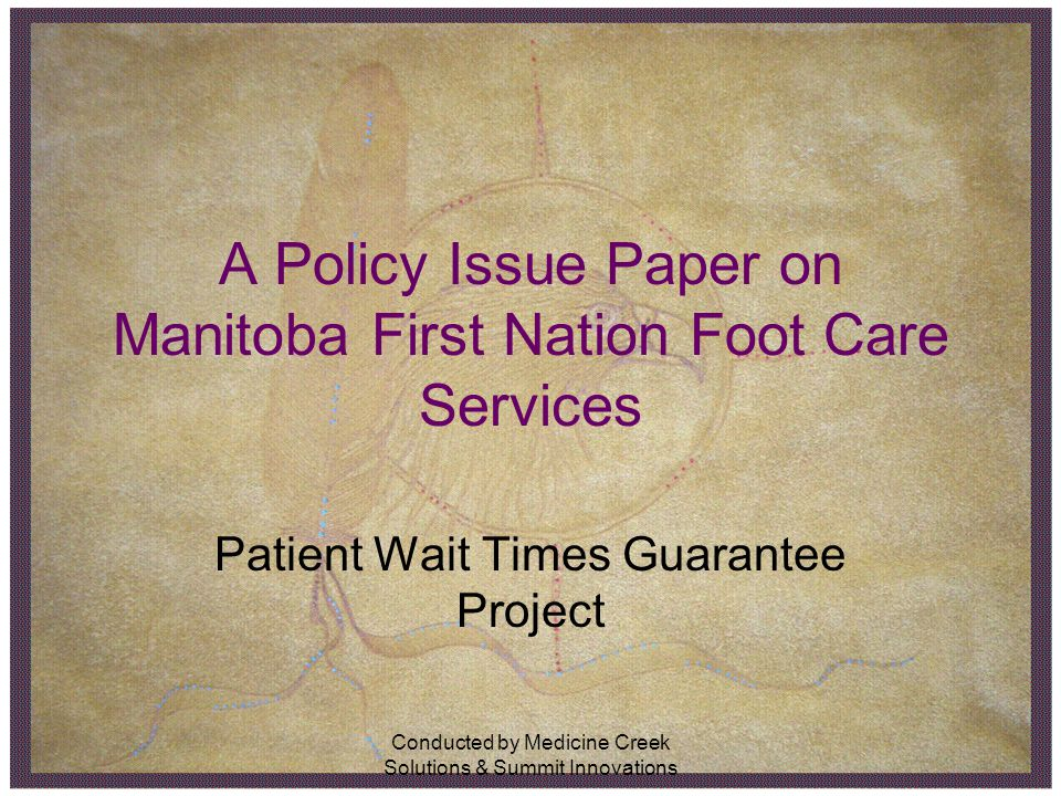 Conducted by Medicine Creek Solutions & Summit Innovations A Policy Issue Paper on Manitoba First Nation Foot Care Services Patient Wait Times Guarant