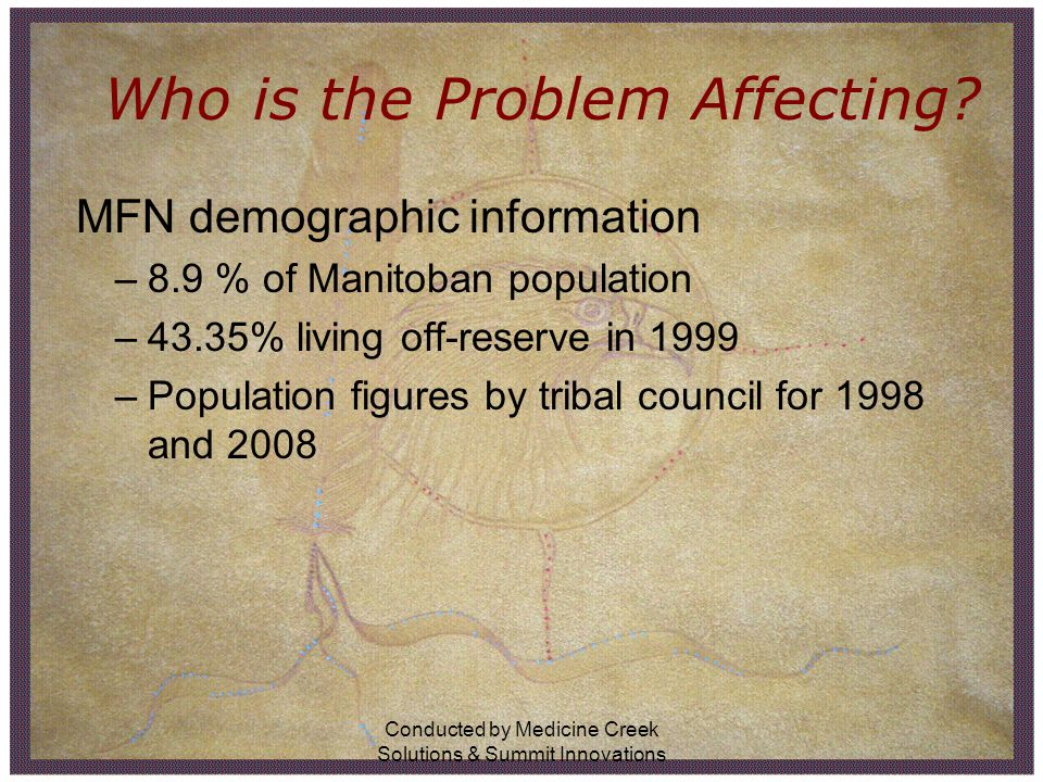 Conducted by Medicine Creek Solutions & Summit Innovations Who is the Problem Affecting? MFN demographic information –8.9 % of Manitoban population –4