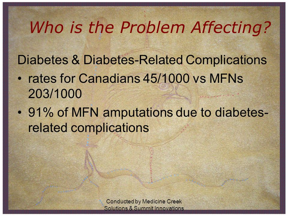 Conducted by Medicine Creek Solutions & Summit Innovations Who is the Problem Affecting? Diabetes & Diabetes-Related Complications rates for Canadians